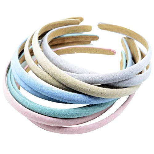 (10pcs 12mm Cotton Coverd Plastic Plain Flexible Alice Hair Bands Headband)