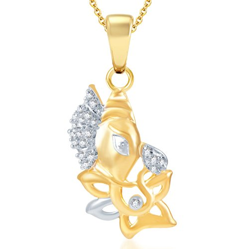 Sukkhi Indian Wedding Gold and Rhodium Plated Cubic Zirconia God Pendant