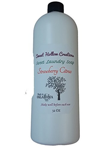 - Laundry Soap Handmade Liquid Very Thick Rich Strawberry Citrus Scent Outdoor Fresh Strawberries, Lemon and Orange Essential Oils 32 OZ Jug with Child Proof Cap