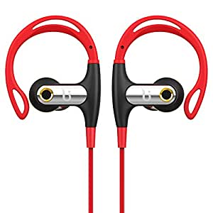Wireless Sport Bluetooth Headphone BOROFONE BE1 Workout Headset With Earhook Design With Microphone Sweatproof Waterproof IPX4 Noise Canceling Stereo Hifi Sound Outdoor Running For Gym (Red)