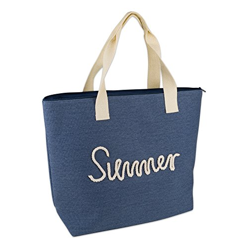 DII Knotty Summer Beach Bag 15.5x21x6.25 Shoulder Travel Tote Navy, Knotty Summer ()