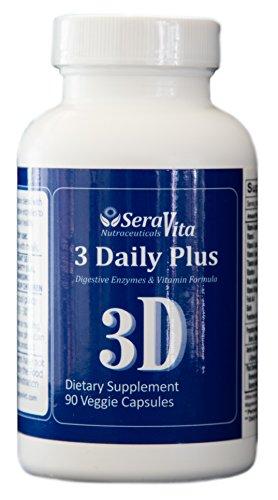 SeraVita 3 Daily Plus (Multi Vitamin, Enzyme and Amino-acid Blend) 90 Veggie Capsules