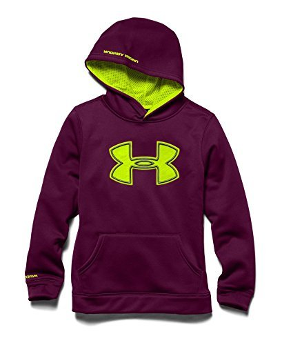 Under Armour Boys AF Storm Big Logo Hoody (Small, Beet/High-Vis Yellow/Graphite) by Under Armour