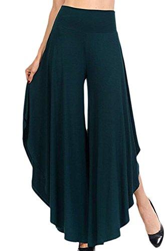 Palazzo D'été Unie Temps Fille Confortable Mode Taille Haute Vert Fiesta Large Libre Culotte Sombre Jupe Femme Pantalon Élégant Couleur Style qw808t