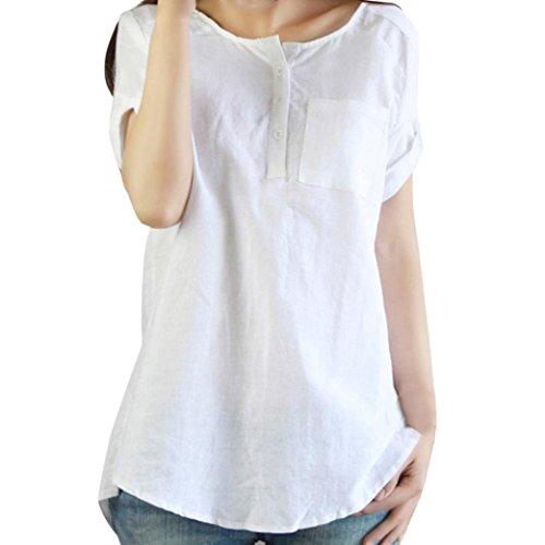 Colore della Casuale di Maglietta del Maglietta Maglietta delle delle Solido Casuale Fami Donne Lino di Bianca Allentata Donne Cotone P7HAq6X6