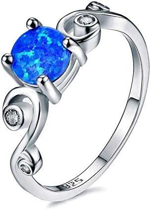 RVXZV Anillo clásico de joyería de Plata 925 con Piedras Preciosas de ópalo Redondo Azul púrpura Blanco Color Encanto Compromiso joyería de Plata Regalo