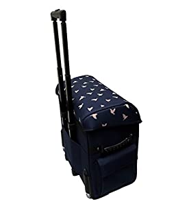 EverSewn Navy Blue Rolling Machine Trolley by EverSewn