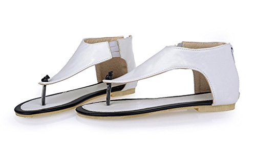 Easemax Womens Sweet T-strap Open Teen Terug Rits Thong Flip Flop Sandalen Wit