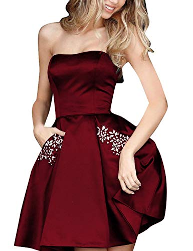 Aurora Bridal Womens Short Beading Homecoming Dresses with Pockets 2018 Formal Prom Gown US14 Burgundy