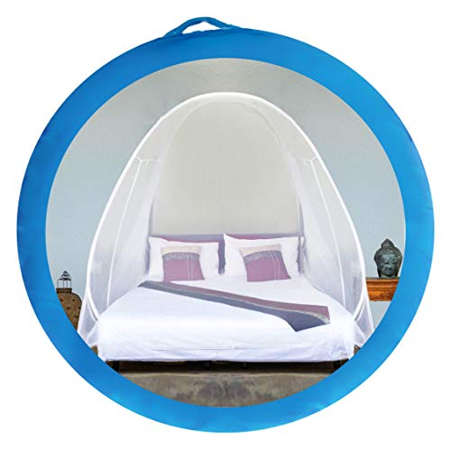 EVEN NATURALS Luxury Pop Up Mosquito Net Tent, Large: for Twin to King Size Bed, Finest Holes, Canopy, Insect Screen, Folding Design with Bottom, 2 Entries, Easy to Install, Storage Bag, No Chemicals from EVEN NATURALS