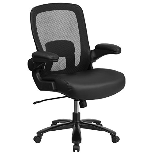 Flash Furniture HERCULES Series Big & Tall 500 lb. Rated Black Mesh Executive Swivel Chair with Leather Seat and Adjustable Lumbar
