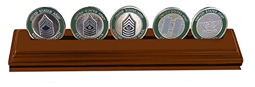 Display Row Coin (DECOMIL Poker Chips & Military Collectible Challenge Coin Holder (Medium, 1 Rows) Solid Walnut)