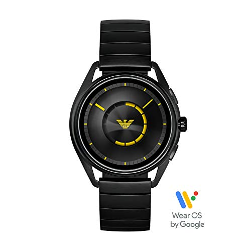 Emporio Armani Men's Stainless Steel Plated Touchscreen Smartwatch, Color: Black (Model: ART5010) (Emporio Watch)