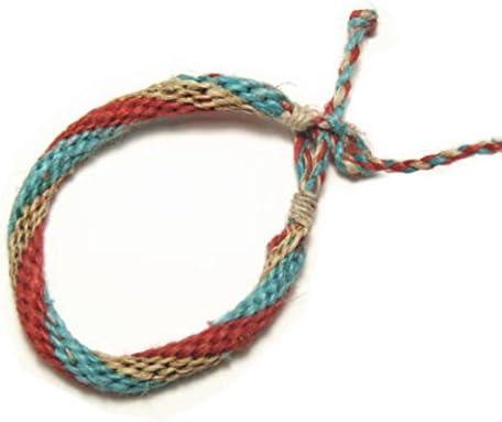 ナチュラルなヘンプ色に赤と青の絡みがかわいい。ヘンプ(麻)ミサンガ