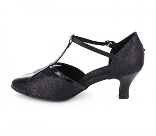 Tda Kvinners T-strap Nære Tå Glitter Syntetisk Salsa Tango Moderne Latin Dans Sko Svart-6cm Hæl