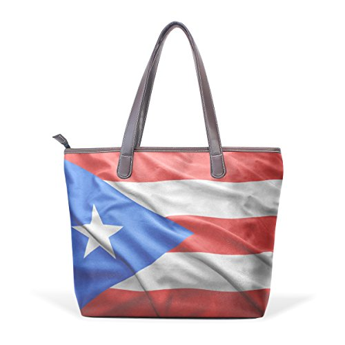 Puerto Rico Flag Women's Fashion Large Shoulder Bag Handbag Tote Purse for Lady