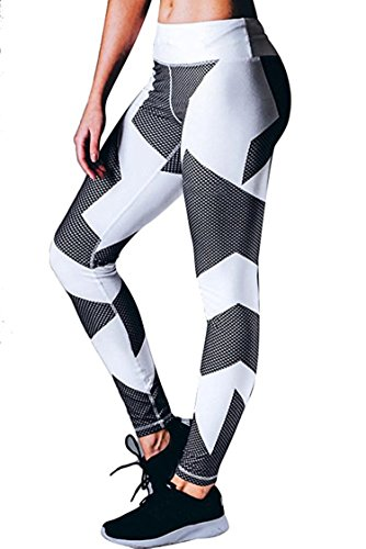 Unique-Shop Womens Printed Stretch Skinny Yoga Pants Outdoor Sports Slim Tights (Acne Skinny Jeans)