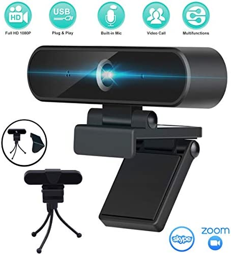 1080P WebcamMicrophone Tripod Stand & Privacy Cover - HD Web Camera USB Plug and Play Streaming Laptop Desktop Computer Camera for Zoom Skype FaceTime OBS