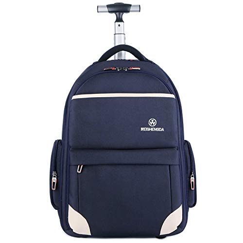Funny & Special Large Storage Laptop Students Multifunction Waterproof Wheeled Rolling Backpack,19 inch (Navy Blue)