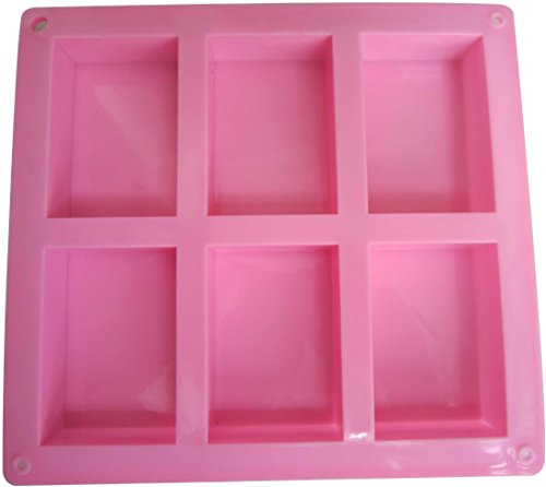 (Rectangle Silicone Soap Mold - LeBeila 6 Large Cavity DIY Baking Molds Cake Pan Reusable Silicon Ice Cube Trays For Soap Making Bar, Loaf, Resin, Muffin, Brownie, Homemade Craft (6 Cavities, Pink))
