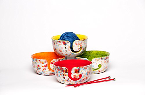 Yarn Bowl for Knitters, Yarn Bowl for Crochet, Best Gift for Knitters, Bright colors choose from Red, Orange, Green, Yellow or Blue - Priority Many How Mail Is Days