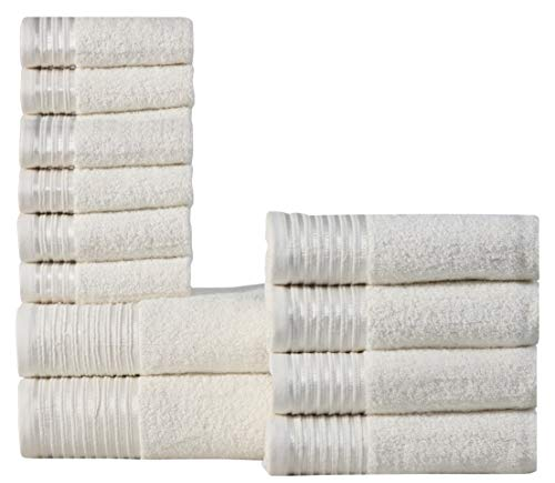 Wicker Park 600 GSM Ultra Soft 100% Combed Cotton 12-Piece Towel Set (Ivory): 2 Bath Towels, 4 Hand Towels, 6 Washcloths, Long-Staple Cotton, Spa Hotel Quality, Super Absorbent, Machine Washable