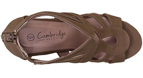 Cambridge Selezionare Donna Open Toe Strappy Platform Sandali Con Zeppa Sul Tallone