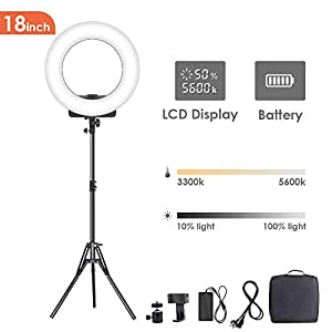 GEEKOTO Ring Light, Ring Light with Stand, 18-inch Ring Light for Phone and Camera, LED Ring Light with Phone Holder 48W, 3300K- 5600K for Photography, Makeup, Youtube Video Shooting
