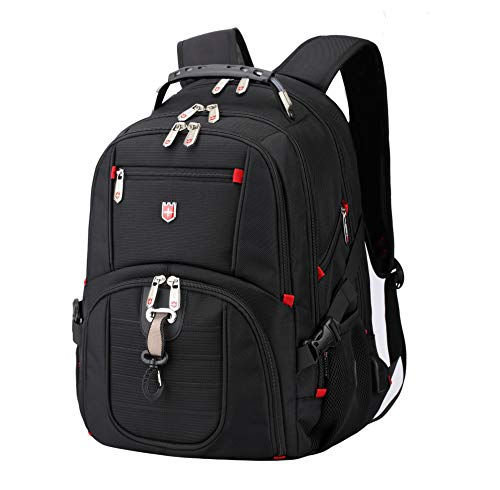 Gents Swiss - Travel Outdoor Laptop Backpack, Large Water Resitant Hiking Backpack for Active Men and Women. Active 12 by Swiss RUIGAR - Black