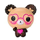 VEMOW Squishy Love Cute Glasses Bear Scented Jumbo Charm Super Slow Rising Squeeze Toys Jumbo Collection Squeeze Stress Reliever Toys Kids' Soft Toddler Crafts Father's Day Birthday Children's Day Gift (Brown)