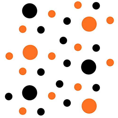 Set of 30 - Black/Orange Circles Polka Dots Vinyl Wall Graphic Decals Stickers