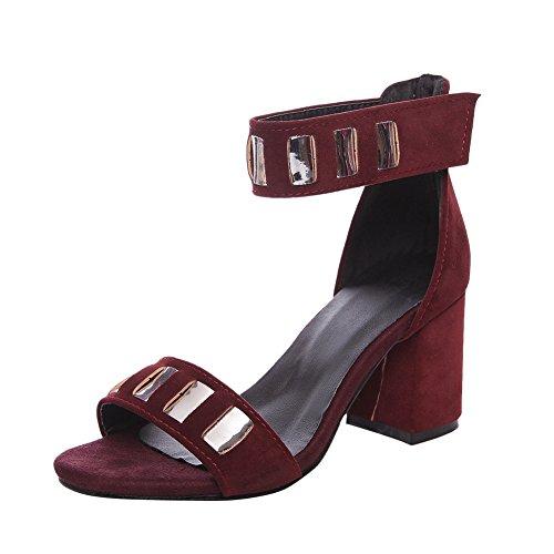 Charm Foot Womens Cinturino Alla Caviglia Open Toe Sandalo Estivo Vino Rosso
