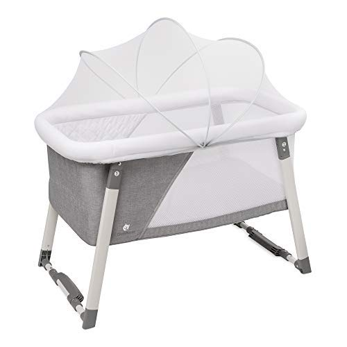 Travel Bassinet for Baby - Rocking & Sturdy Cradle - Includes Carry Case, Mosquito Net, Mattress, Sheets, Infant Crib, and Urine Pad - Portable Bed Side Sleeper for Newborn Babies by ComfyBumpy ()