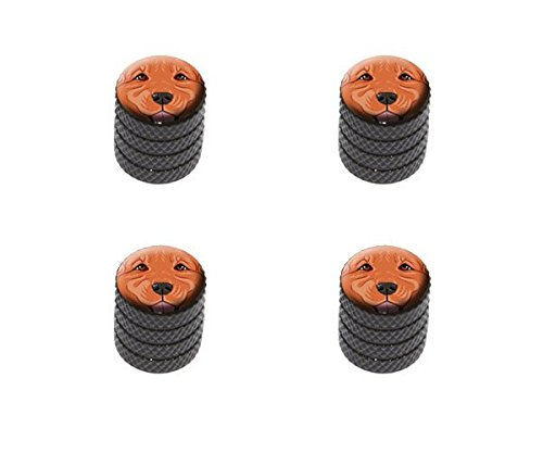Golden Retriever Pets Cap - Graphics and More Dark Red Golden Retriever Face - Pet Dog Tire Rim Wheel Aluminum Valve Stem Caps - Black Color