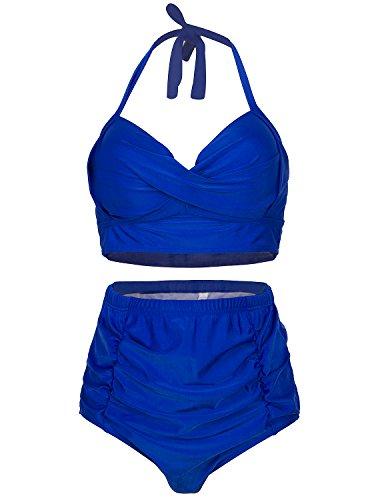 Viqiv Vintage Two Piece Swimsuits High Waisted Black Bikini Swimwear Tankini US14 (FBA)
