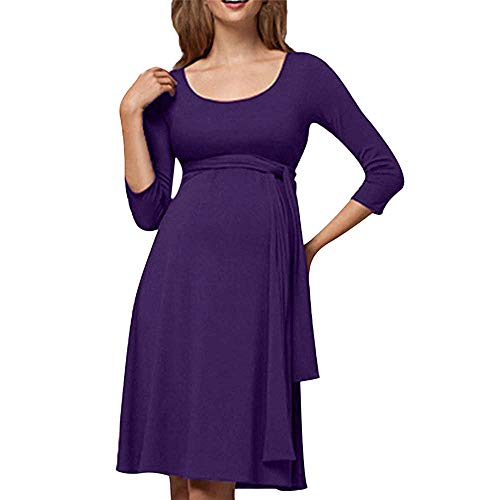 YOcheerful Womens Maternity Mom Pregnant Long Sleeve Dress Comfy Tee Top Blouse (Purple,XS)