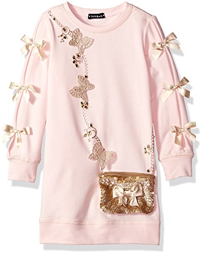 Kate Mack Big Girls' Spun Gold Dress With Attached Purse, Pink, 7 by Kate Mack