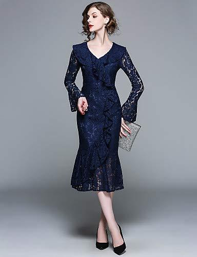 con Abito YFLTZ tinta campana a sirena da unita maniche donna vintage pizzo Blue a sofisticato vestito a tromba pXSqX