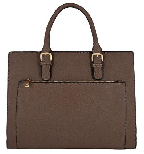 CRAZYCHIC - Women's Large Tote Handbag - Lady Zipper Briefcase Satchel Shopper - Faux Saffiano Leather Rigid Shopping Bag - Top-Handle Multi-Pockets Bag - Work School Laptop Business Taupe Brown 2