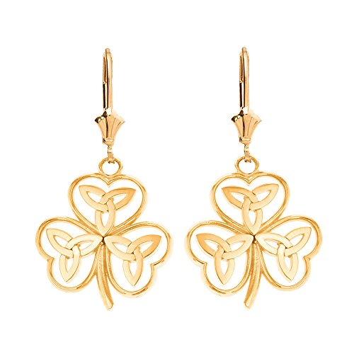 Solid 14k Yellow Gold Irish Shamrock Earrings with Celtic Trinity Knot ()