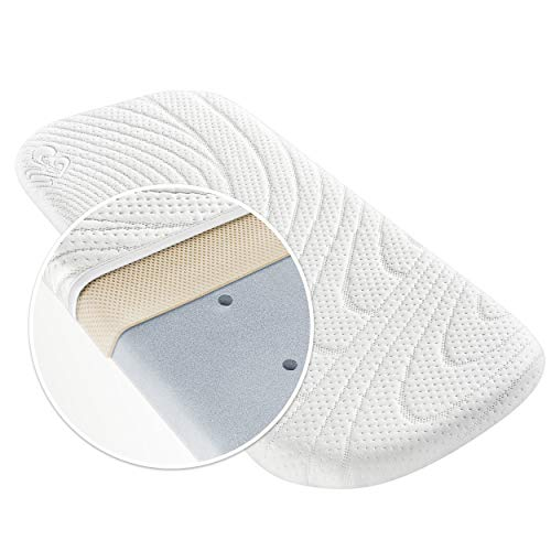 Alvi Colchon para capazo - TENCEL & Dry - 75x33 cm / Funda antihumedad / Espuma perforada / Camara de aire 3D / Hipoalergenico / Sin sustancias nocivas
