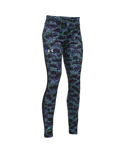 Under Armour Girls' ColdGear Armour Leggings, Black/Silver, Youth X-Small