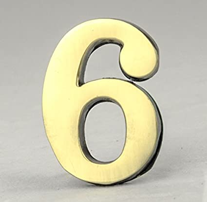 378ff8098726 Address Number 6-2 Inch Solid Adhesive Brass Numbers for House, Door, Address  Plaque, Mailbox | Satin Metallic Surfaces - - Amazon.com