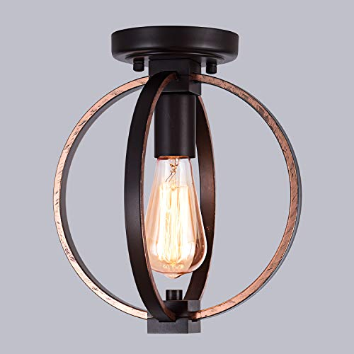 Vintage Industrial Flush Mount Light Fixture Metal Spherical Ceiling Lamp Light Fixture for Hallway Living Room Farmhouse Stairway Porch Bedroom Kitchen, Oil Rubbed Bronze Finish