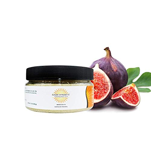 Sugar Dynamite Body Scrub with All Natural Vegan Sugar, Raw Shea Butter and Organic Coconut Oil to Exfoliate, Hydrate and Moisturize Dry Skin Moroccan Fig - 12 oz. Limited Edition