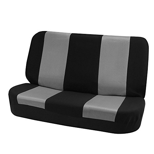 FH Group FH-FB102010 Classic Cloth Bench Seat Covers Gray/Black Color- Fit Most Car, Truck, SUV, or Van