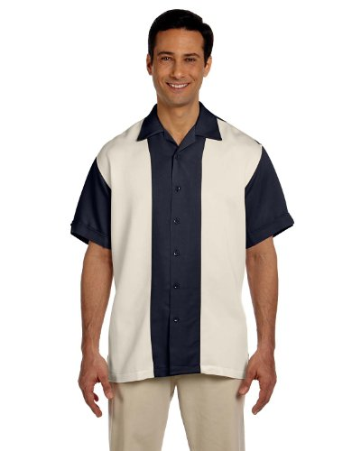Harriton Men's Two Tone Bahama Cord Camp Shirt, Navy/Creme, XX-Large
