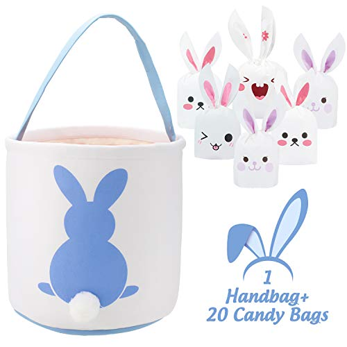 Whaline 1 Pcs Easter Bunny Bags with 20 Candy Bags, Canvas Eggs Gift Tote Rabbit Handbag for Kids Party Basket (Blue)