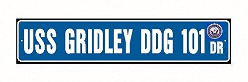 USS GRIDLEY DDG 101 Street Sign Aluminum Blue / White 6