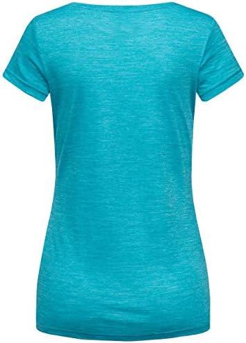 super.natural W Print - Maglietta a Maniche Corte da Donna, Donna, SNW013034L68XL, Pagoda Blue Melange/Jet Black, XL